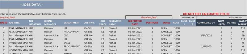 Job-Data-Sheet