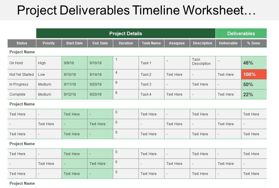 Project Tracking Deliverable Template